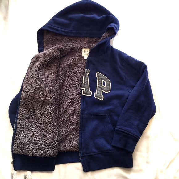 Baby Gap Cozy Logo Full Zip Gray Jacket Hoodie Sherpa Lined Size 6 12 Months
